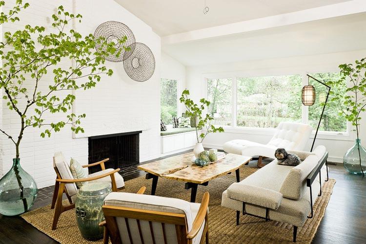 Những chậu cây cao lớn, mảnh khảnh cũng đẹp chẳng kém gì những chậu cây có kích thước nhỏ như trong mẫu phòng khách này
